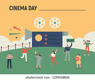 Fun characters set around a huge movie camera. Film Festival poster concept flat design style minimal vector illustration