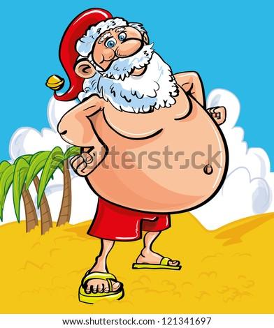 fun christmas greeting card cheerful santa stock vector royalty