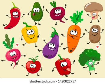 A fun collection of cartoon plant characters. Vector vegetable isolates.