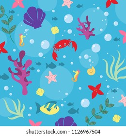 Fun, colorful background pattern depicting a cartoon scene under the sea