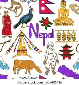 Fun colorful sketch Nepal seamless pattern