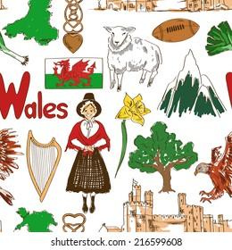 Fun colorful sketch Wales seamless pattern