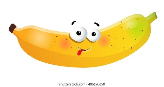 Fun cute banana cartoon character. Vector illustration, isolated, clip-art on a white background