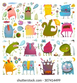 Fun Cute Cartoon Monsters for Kids Design Collection. Vivid fabulous incredible creatures design elements big bundle isolated on white. EPS10 vector has no background color.
