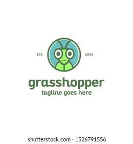 fun cute colorful grasshopper face head logo mascot vector template