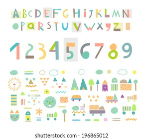 Cute alphabet images stock photos vectors shutterstock fun and cute paper cut alphabet and figures isolated vector altavistaventures Images