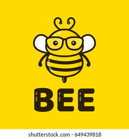 Fun cute smart bee in glasses. Vector modern style flat line  character cartoon illustration icon logo template design. Isolated on yellow background. Kid,children,child,honey,worker bee concept