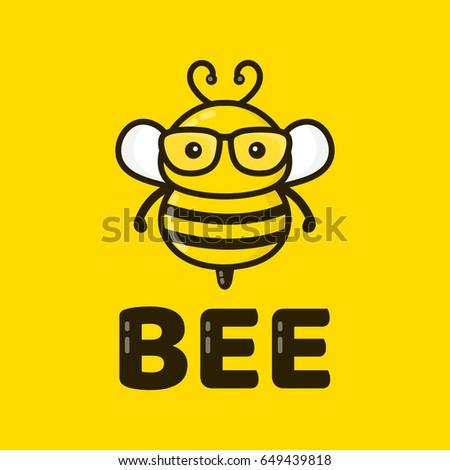 93b77bc0645f Fun Cute Smart Bee Glasses Vector Stock Vector (Royalty Free ...