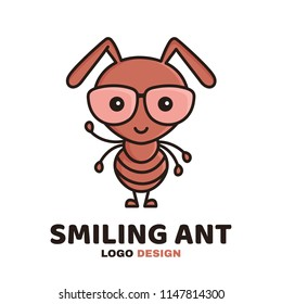 Fun cute smiling smart ant in glasses. Vector modern style flat line character cartoon illustration icon logo template design. Isolated on white background. Kid,children,child,worker ant concept