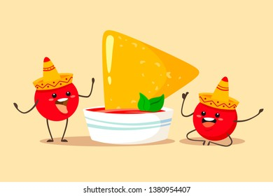 Fun and cute tomatoes in a sombrero with a cup of sauce and nachos chips. Vector illustration in cartoon flat style.