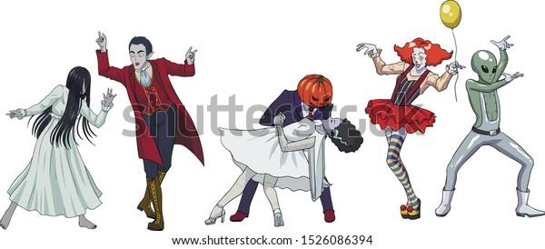 Fun Dancing Halloween Monsters Scary Girl Stock Vector Royalty Free 1526086394