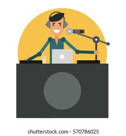 Fun DJ in the workplace. Radio presenter in the headphones. Vector illustration isolated on white background.