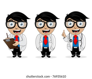 Fun doctor character on a white background