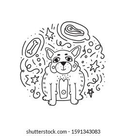 Fun doodle fat french bulldog puppy dreaming about meat and bone. Vector isolated hand drawn illustration for coloring book or t-shirt print.