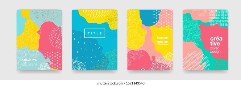 Fun doodle pattern background with abstract shapes and colors. Modern vector pattern for funny brochure cover template design