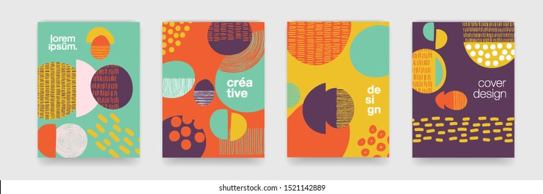 Fun doodle pattern backgrounds with abstract shapes and colors. Modern trendy cartoon pattern for funny brochure cover template, vector creative design