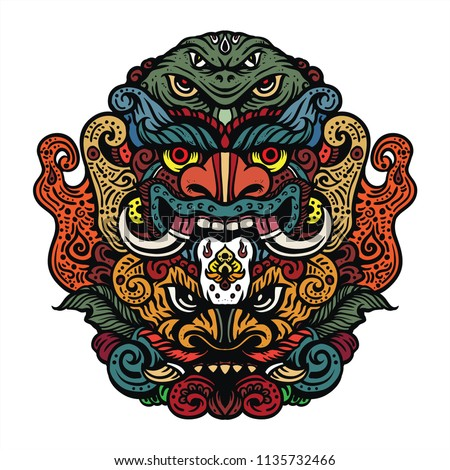 fun drawing mythical creatures evil heads stock vector royalty free