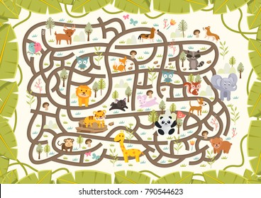Fun Educational Animal Wildlife Theme Maze Puzzle Games For Children Illustration