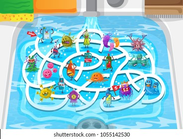 Fun Educational Dishwasher Sink Germs And Cleaner Theme Maze Puzzle Games For Children Illustration, suitable for games, book print, apps, education, and other kids fun activity related.