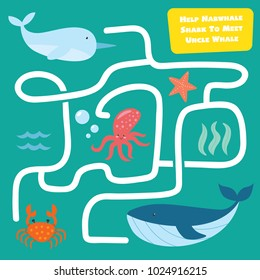 Fun educational Help Narwhal Find the way. Mini maze game for kid collection set. Wild animal games for children. suitable for games, book print, apps, education, and other kids fun activity related.