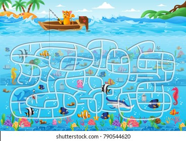 Fun Educational Ocean Underwater Theme Maze Puzzle Games For Children Illustration