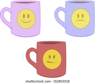 Fun emotional coffee mugs with smiley faces