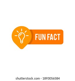 Fun Fact vector template post with idea bulb light icon sticker for social media background, quick tips blank template fyi modern graphic label vector