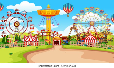Fun fair amusement park empty illustration