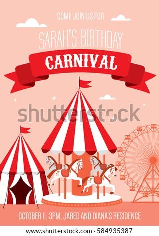 Fun Fair Carnival Birthday Invitation Template Vector Illustration