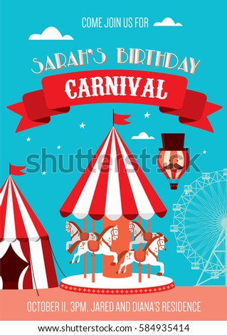 Fun Fair Carnival Birthday Invitation Template Vector Illustration