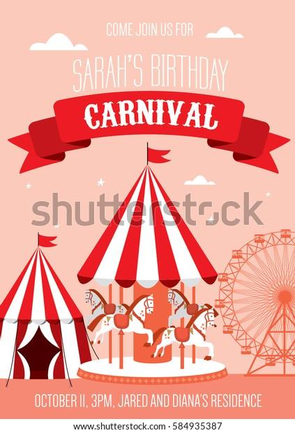 fun fair/ carnival birthday invitation template vector/illustration
