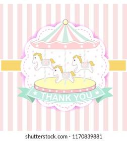 Fun fair carnival carousel,Pastel merry-go-round carousel vector,carousel horses isolated icon design,carousel horses emblem circus