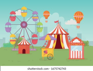 fun fair carnival tent air balloon booth tickets ferris wheel recreation entertainment vector illustration