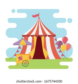 fun fair carnival tent ice cream booth balloons recreation entertainment vector illustration