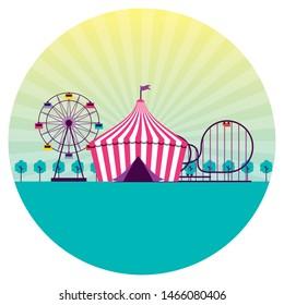 fun fair event amusement park tent vector illustration
