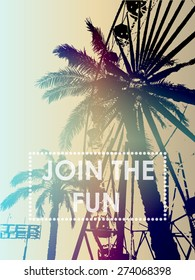 Fun fair and palm tree with print for t-shirt graphic and other uses.