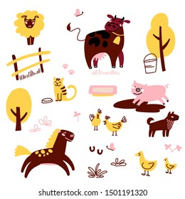 Fun farm animals. Educational set of domestic animals. Cute vector collection with horse, cow, duck, pig, sheep, cat, dog and chicken.