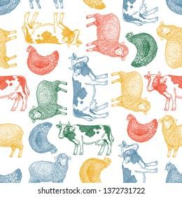 Fun farm animals seamless pattern. Cow, sheep, chicken engraved vintage illustration. Vector illustration