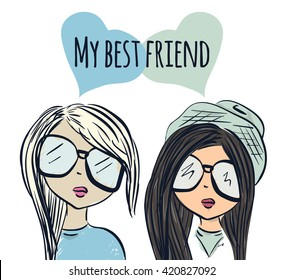 Fun fashionable girl friend. Fashion girls. Best friends. Vector illustration