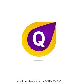 Fun flat Q letter logo sign. Abstract shape element icon vector design