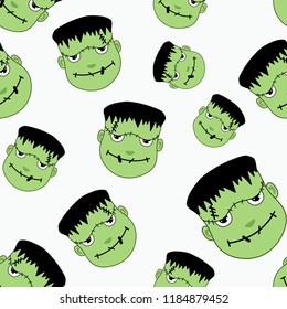 fun frankenstein halloween pattern with cute head character vector illustration.