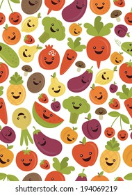 fun fruits and vegetables seamless pattern design. vector illustration