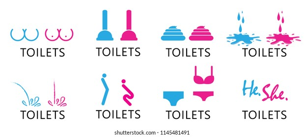 Fun funny toilets toilet day WC sign restroom Vector eps icon icons symbol paper people gender bh underwear lingerie brush happy print urinal People man men lady woman women boy girl sex he she sexy