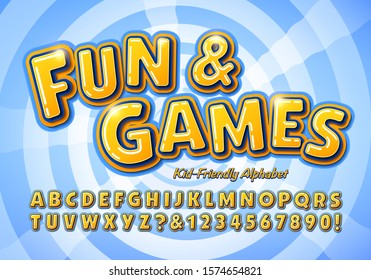 Fun and Games is a kid friendly alphabet; This font is ideal for school or education graphics, toys, games, marketing, television show titles, and anywhere that fun and friendly lettering is needed.