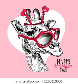 Fun Giraffe in a Lips sunglasses and hearts headband on a pink background. Happy Valentine's day - lettering quote. Humor card, t-shirt composition, hand drawn style print. Vector illustration.