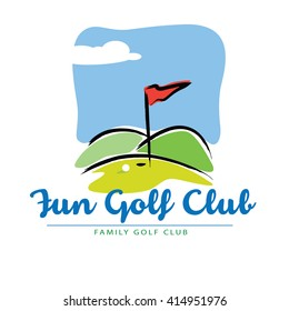 Fun Golf course landscape Icon in vector format