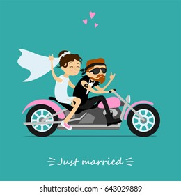 Fun greeting card. Groom and bride bikers riding on motorcycle. Wedding couple. Inscription just married.