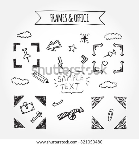 Fun Hand Drawn Doodle Frames Office Stock Vector (Royalty Free ...