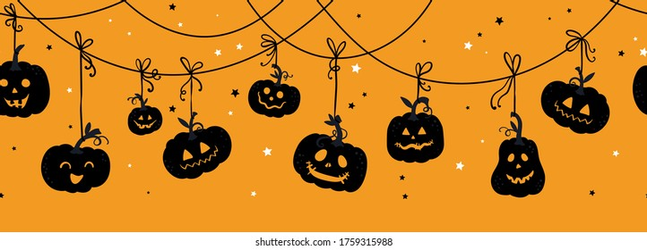 Fun hand drawn halloween horizontal pumpkin seamless pattern, cute pumpkins background, great for banners, wallpapers, textiles, cards - vector design