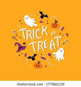 Fun hand drawn halloween illustration with ghosts, pumpkins, bats and candy. Great for halloween concepts, - vector design